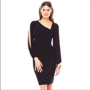 Chaps Red Ruched Slit Sleeve Dress